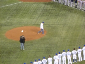 Halladay throwing out the first pitch